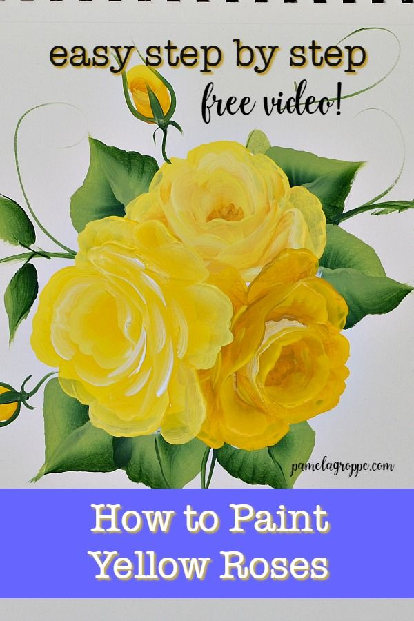 How to Paint Yellow Roses is part of Beginner painting, Simple acrylic paintings, Rose painting, Yellow painting, Acrylic painting tutorials, Acrylic painting lessons - Learning to how to paint yellow roses is the same a most other colors  I share my tips and tricks for painting yellow roses with success  How to Paint a Yellow Rose one easy stroke at a time  Yellow can be a tricky color to get opaque but I show you how in this tutorial      Read More about How to Paint Yellow Roses
