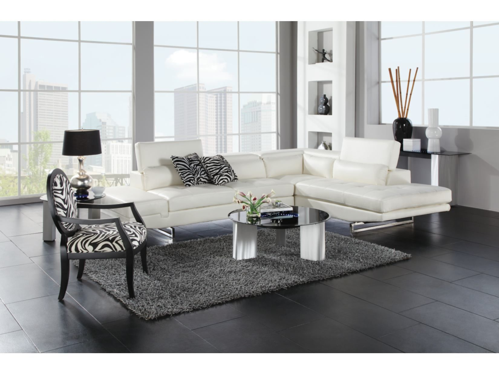 Madrid White 2 PC Sectional Value City Furniture