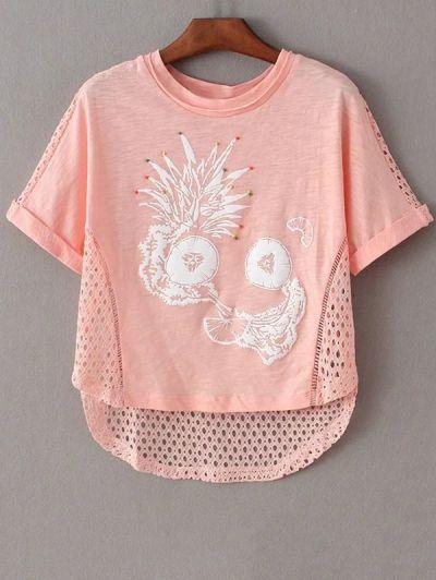Round Neck Short Sleeve Printed Cut Out T Shirt #womensfashion #pinterestfashion #buy #fun#fashion