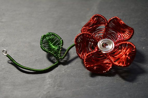 Hey, I found this really awesome Etsy listing at https://www.etsy.com/listing/265932160/red-poppy-flower-brooch-hat-pin-new