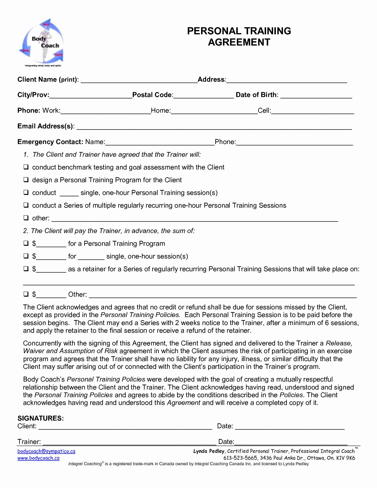 Personal trainer waiver form template awesome personal