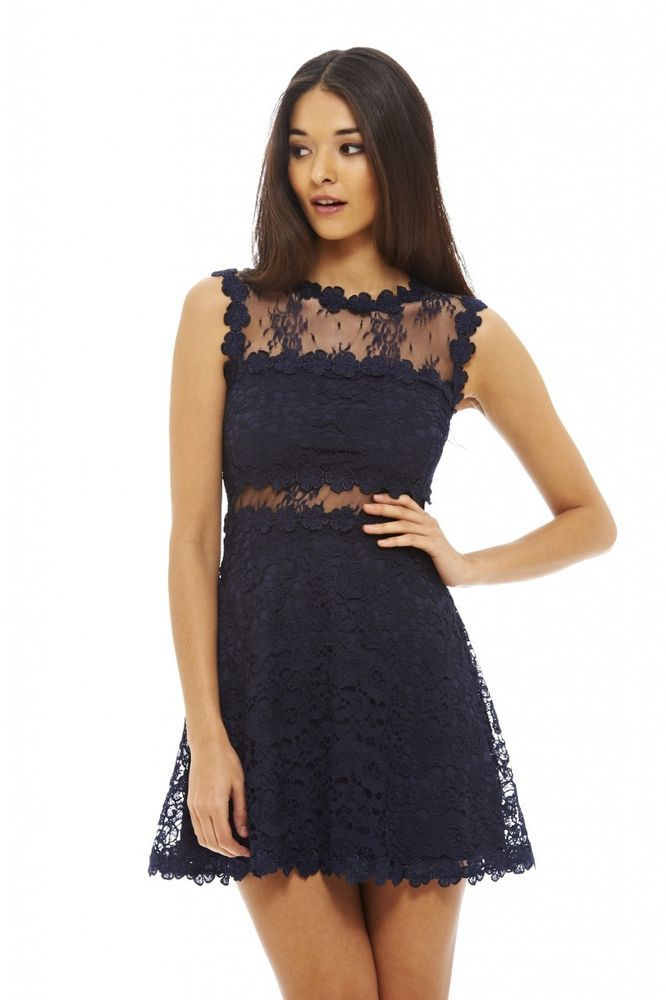 93cdf0ec55f1 AX Paris Womens Lace Crochet Skater Dress Navy Blue Sleeveless Round Neck