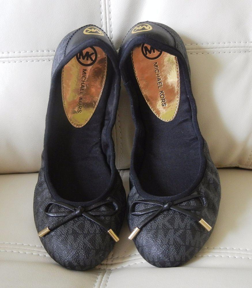 649759891c7d New Michael Kors City Ballet Flats MK Mini Logo PVC Black Size 8.5M w Dust  Bag  MichaelKors  BalletFlats