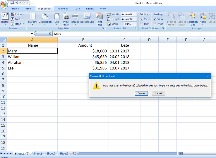how to delete a page in excel workbook