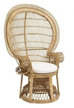 rattan stol Køb Nordal Rattan stol incl. hynde   h152 cm   natur her. Fri  rattan stol