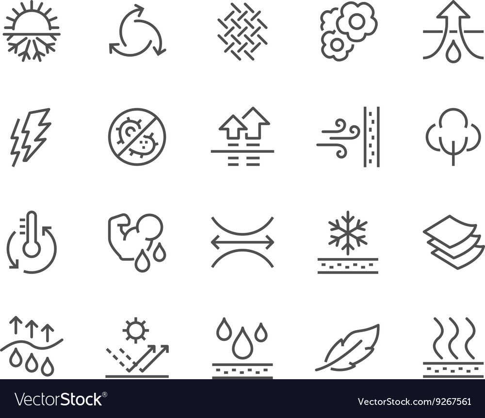 Line Fabric Feature Icons vector image on VectorStock