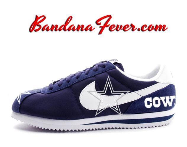 online retailer b7a60 8447e Custom Cowboys Nike Cortez Nylon Midnight NavyWhite, Cowboys,  DallasCowboys, by Bandana Fever