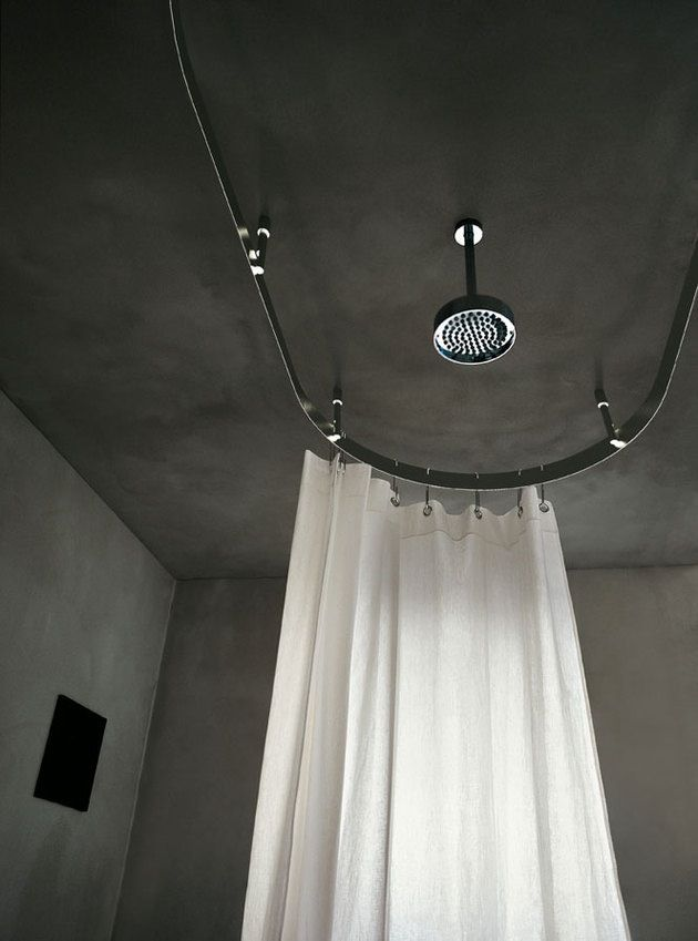 Wabi Sabi Scandinavia Design Art And Diy Concrete Bath Concrete Bath Scandinavian Shower Curtains Shower Rod Wrap around shower curtain rod