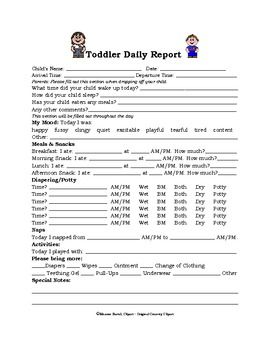 Toddler Daily Report  Childcare Daycare Ideas And Infant Lesson