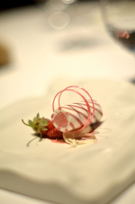 strawberries and cream - molecular gastronomy