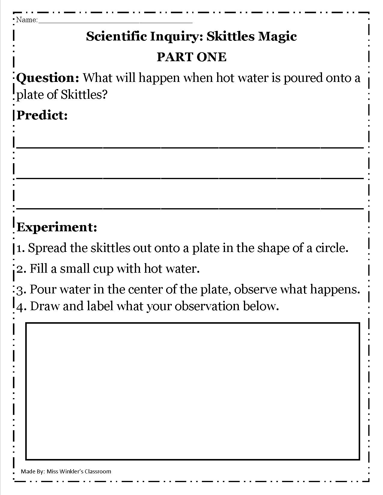 Scientific Inquiry Skittles Magic Single Page