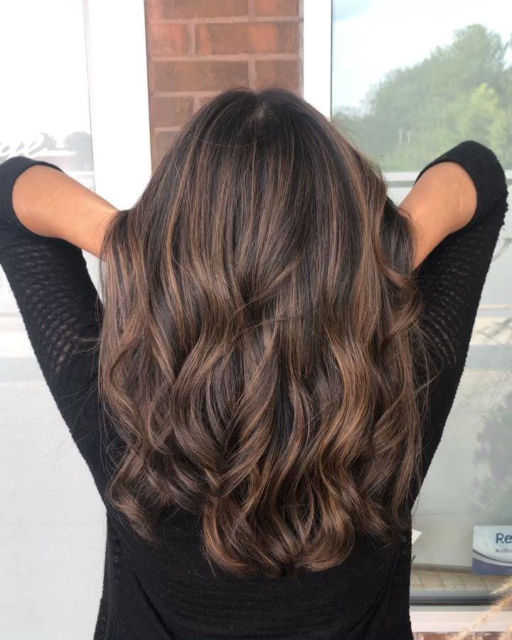 Photo of Soft brunette foilayage balayage root shadow