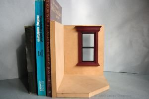 A simple mdf bookend set ready to complete as a exterior dolls house scene. - Photo ©2008 Lesley Shepherd, Licensed to About.com Inc.