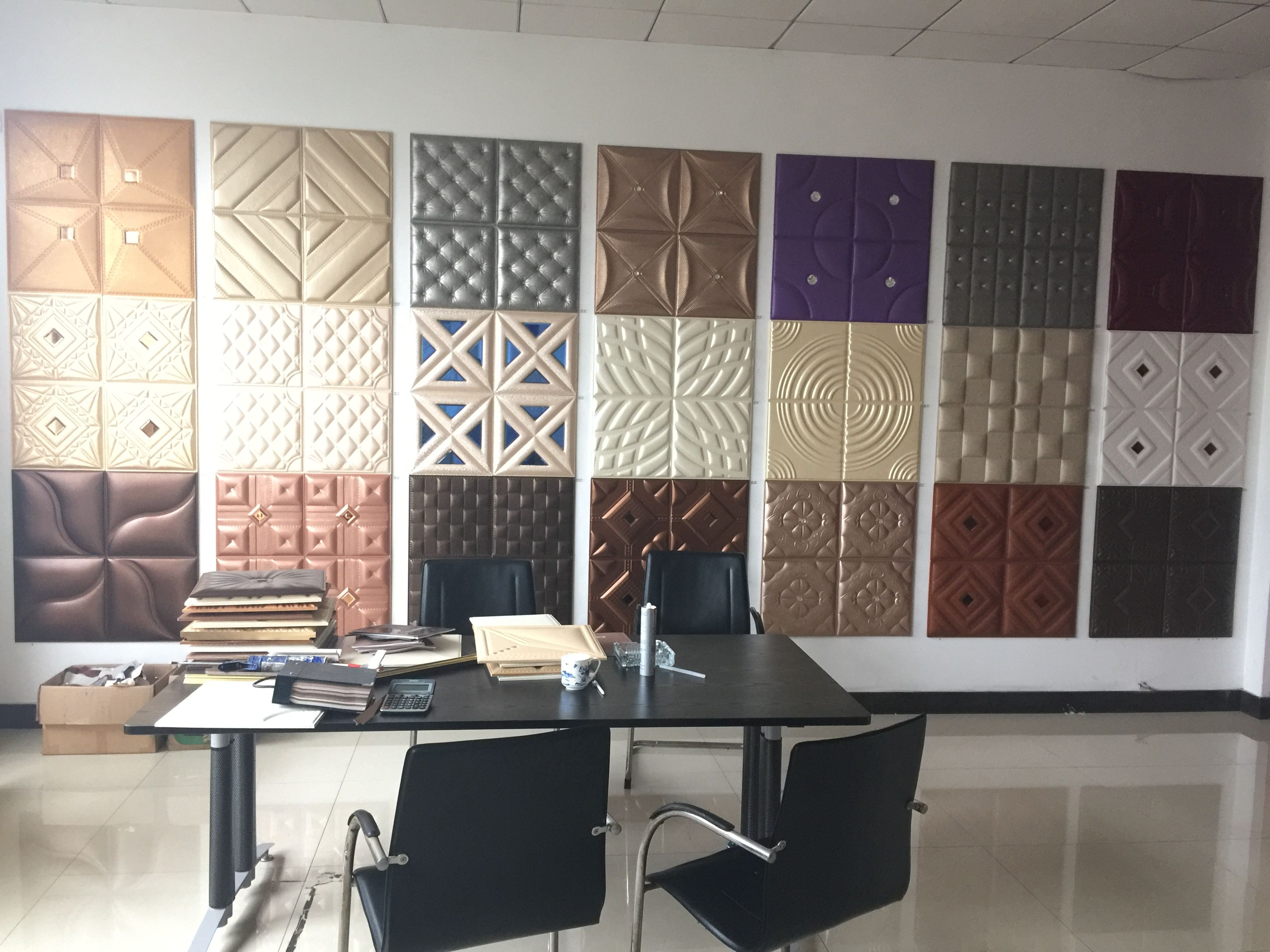 Pu Leather Wall Panel Showroom Located In Haining Xianke New Material Techonology Co Ltd Wall Cladding Interior Plastic Wall Panels Leather Wall