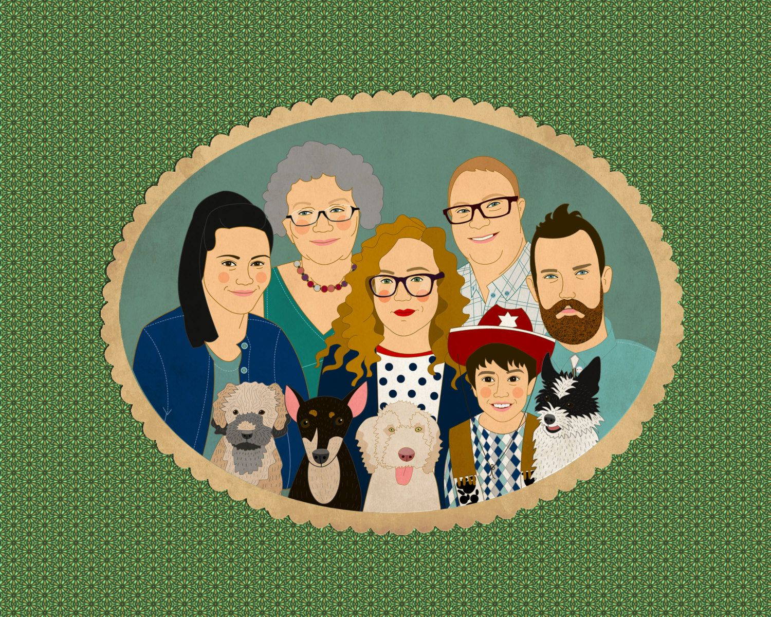 Big family portraits. Custom portraits for 5 or more. Gift for the whole family