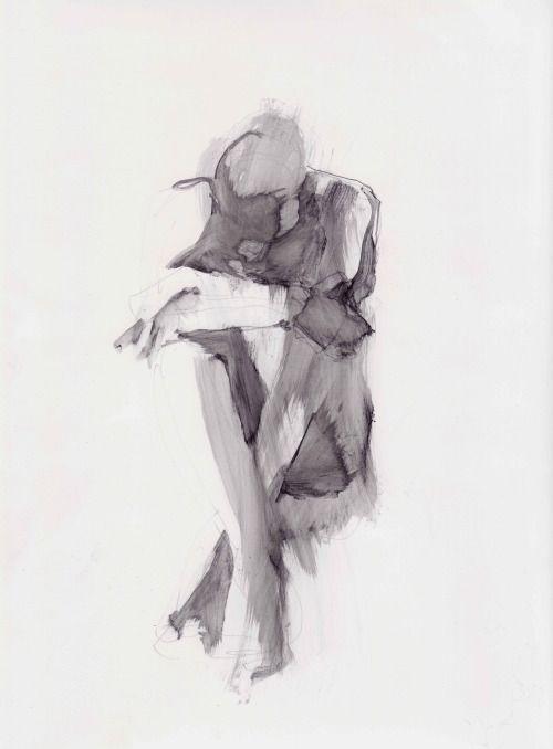 figure study using liquid pencil by Karen Darling   sketched in 2019