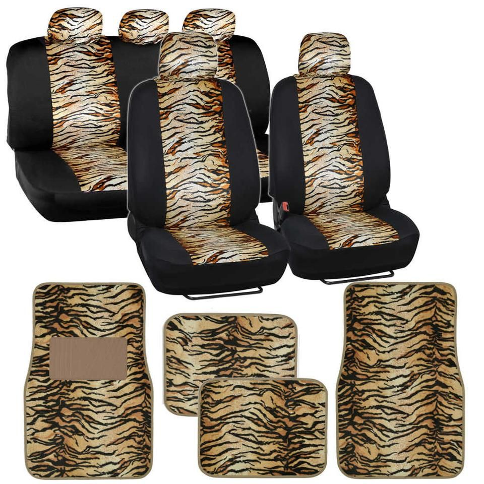 Two Tone Beige Tiger Seat Covers Floor Mats for Car Truck