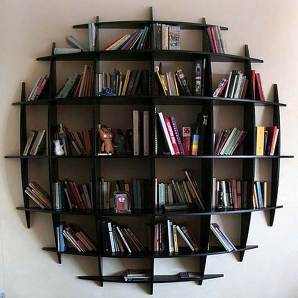 Design Ideas Appealing Round Wall Mounted Bookshelves In Artistic