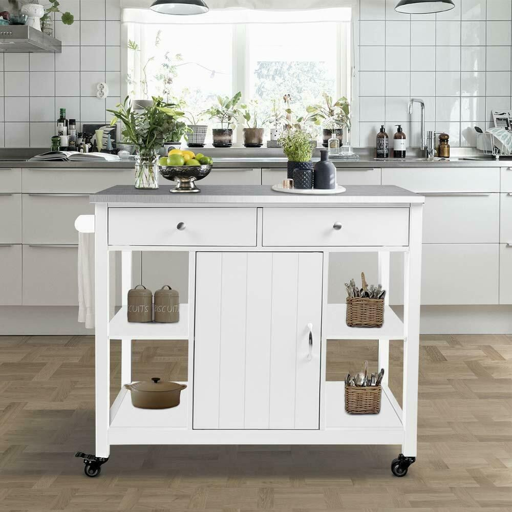 White Storage Cart Wooden Island Cabinet Serving Utility Stainless Steel Top Unknown Rolling Kitchen Island Kitchen Island Cabinets Wood Kitchen Island