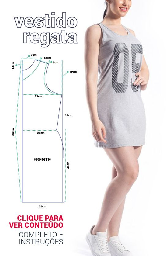 MOLDE VESTIDO REGATA SIMPLES: #modelagem, #moldes #costura ...