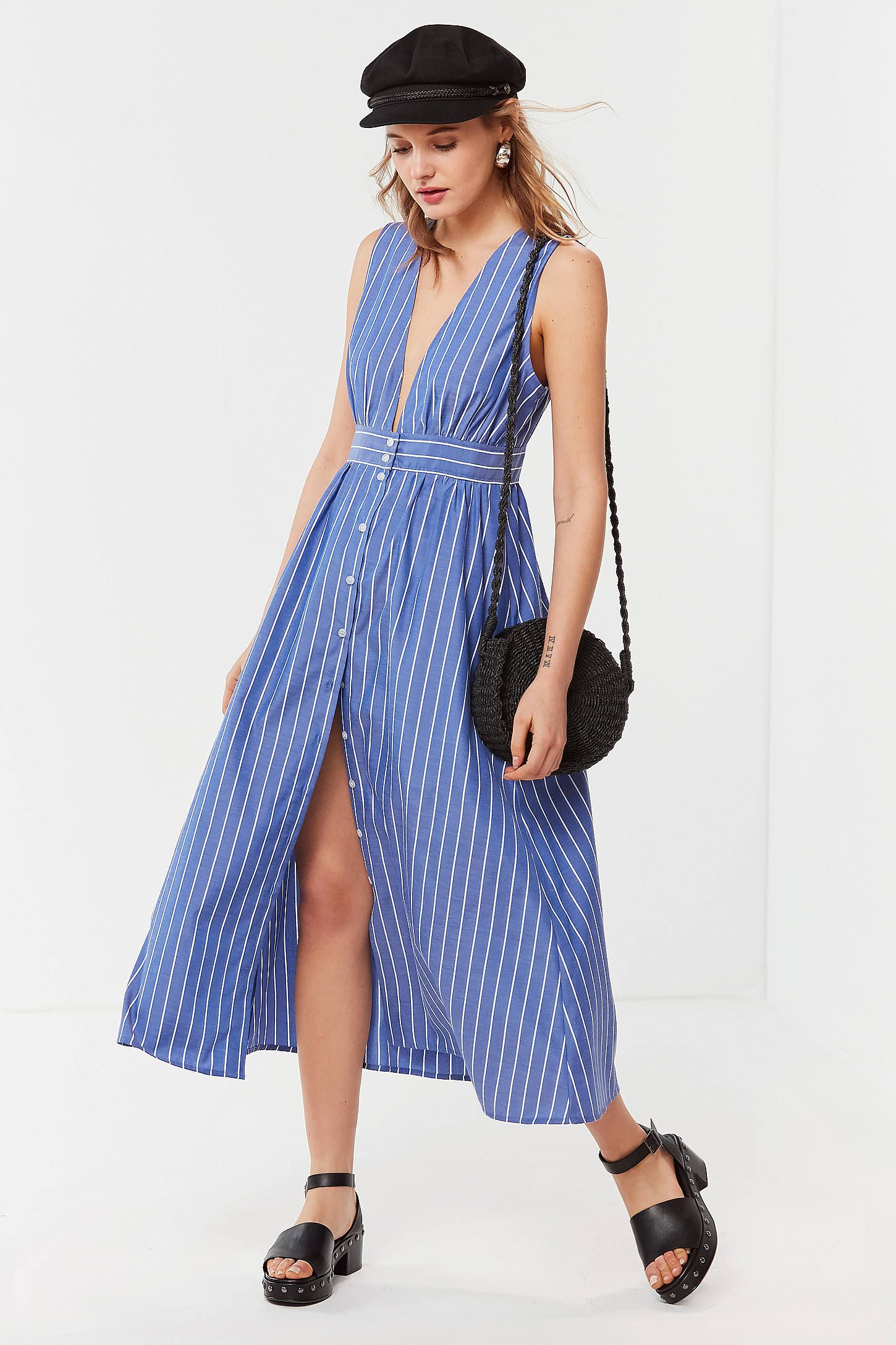 d21e48ad1b78 Shop UO Striped Button-Down Plunging Midi Dress at Urban Outfitters today.  We carry all the latest styles