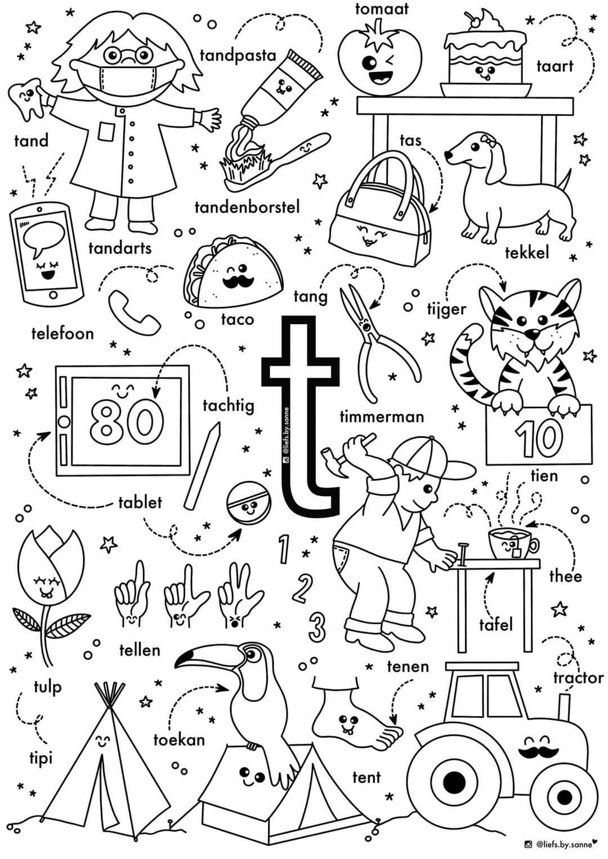 Quatang Gallery- T Woorden Kleurplaat In 2020 Letterherkenning Spelletjes Letterherkenning Alfabet Boek