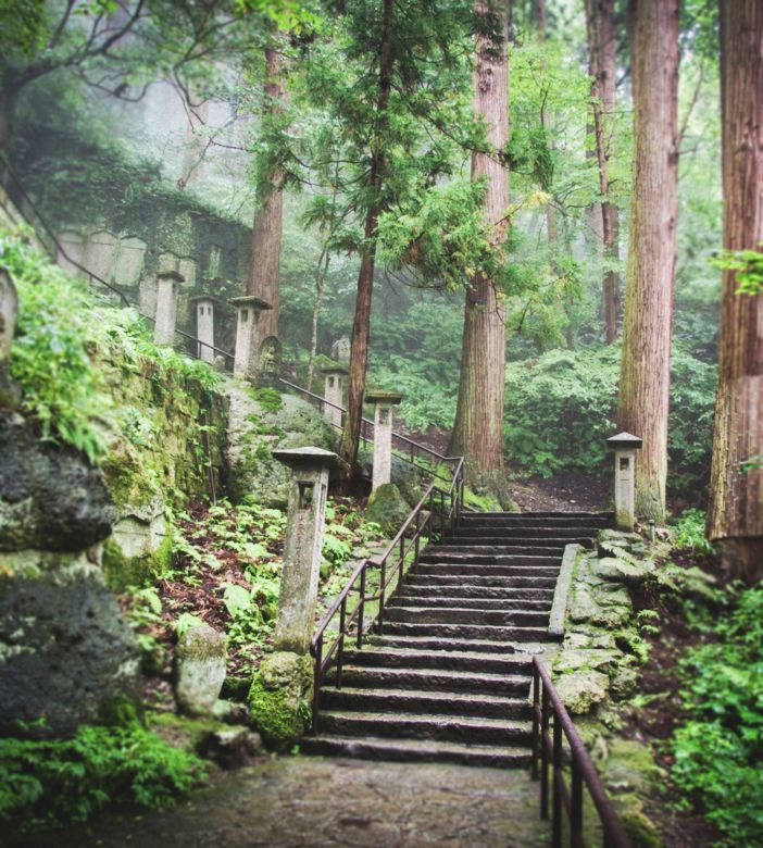stairs to yama-dera (mountain temple), yamagata prefecture, japan