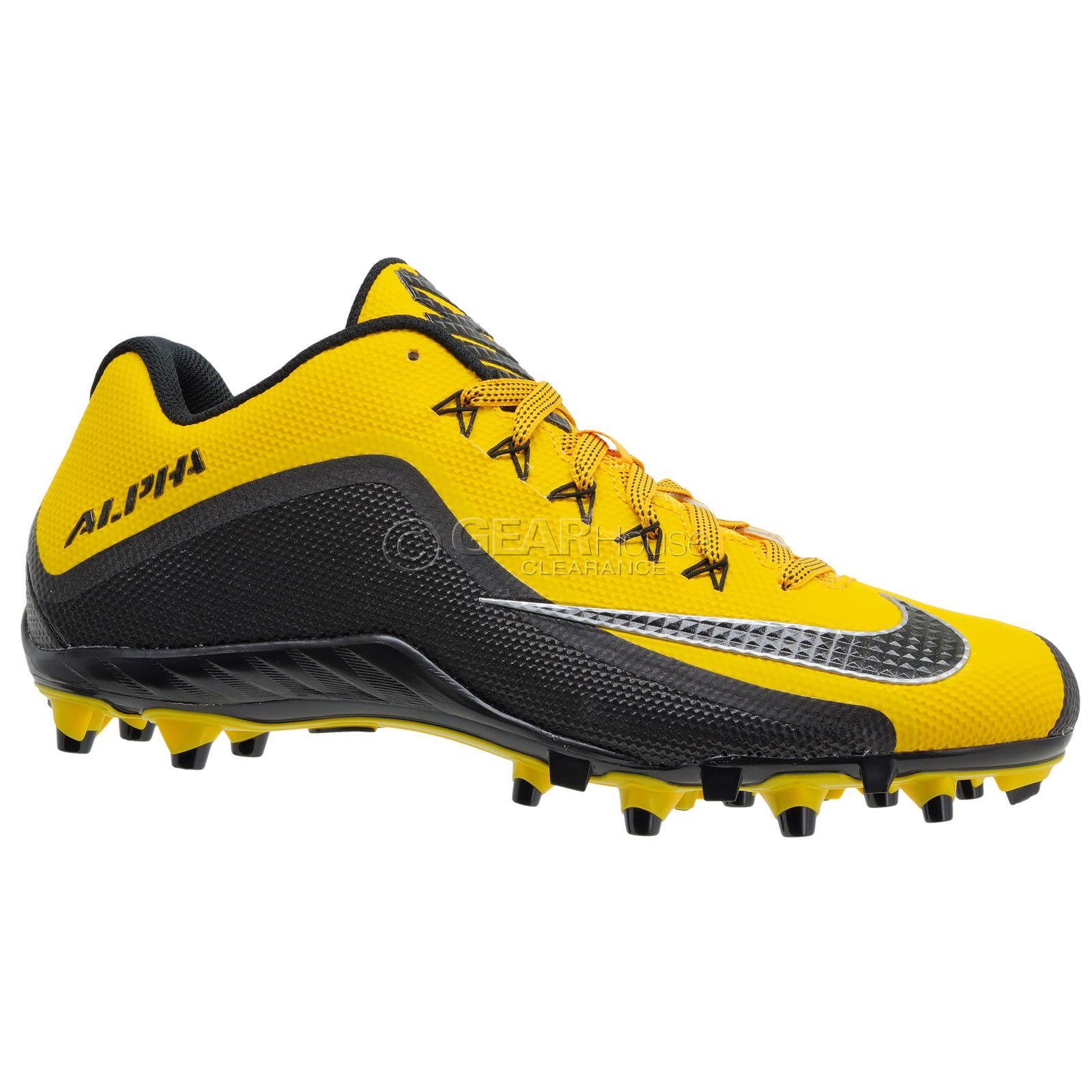 afc7afdc3ecf Nike Alpha Pro 2 II Low TD Mens Football Cleats : Yellow Black Steelers :  12.5