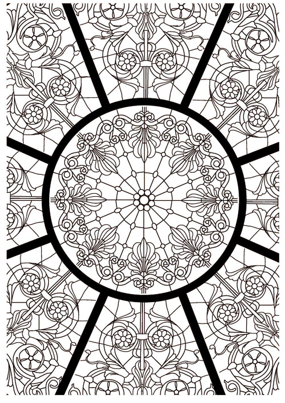 Art th rapie l 39 art du vitrail sophie leblanc livres coloring mandala - Coloriage art therapie ...