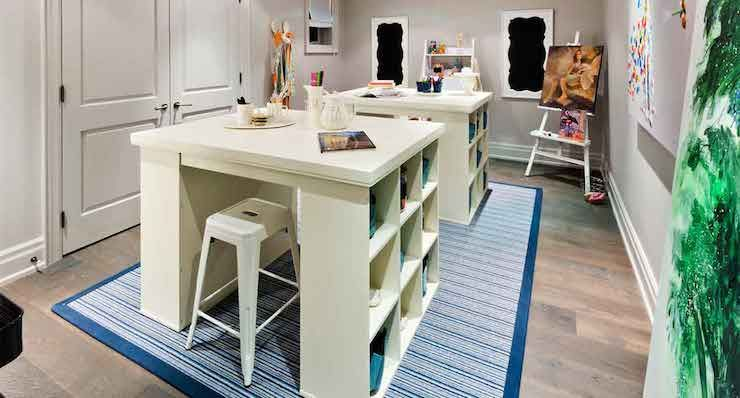 Wonderful Princess Margaret Lottery Home   Craft Room Features A Pair Of Pottery Barn  Bedford Project Table Good Ideas
