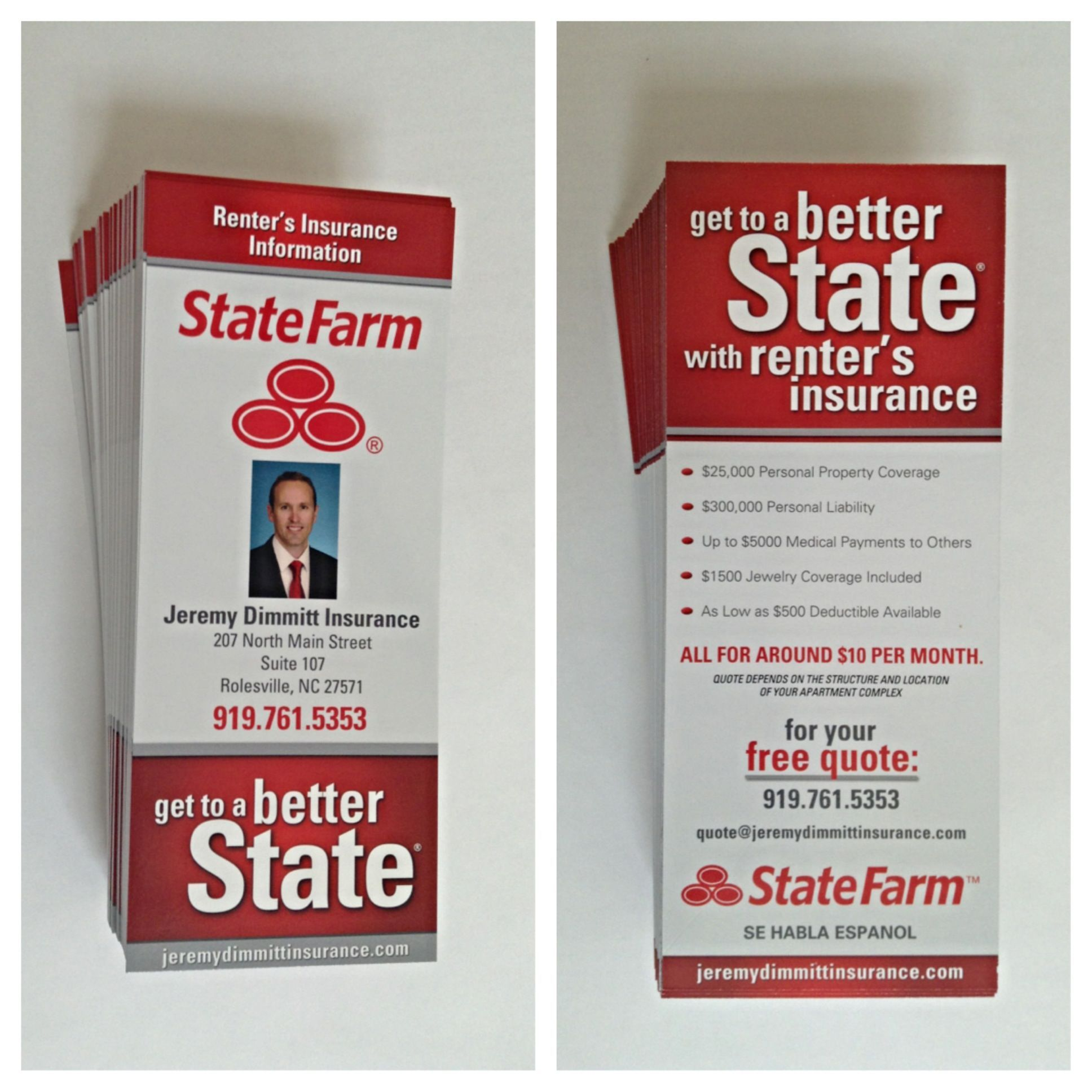 State farm renters insurance rack cards renters