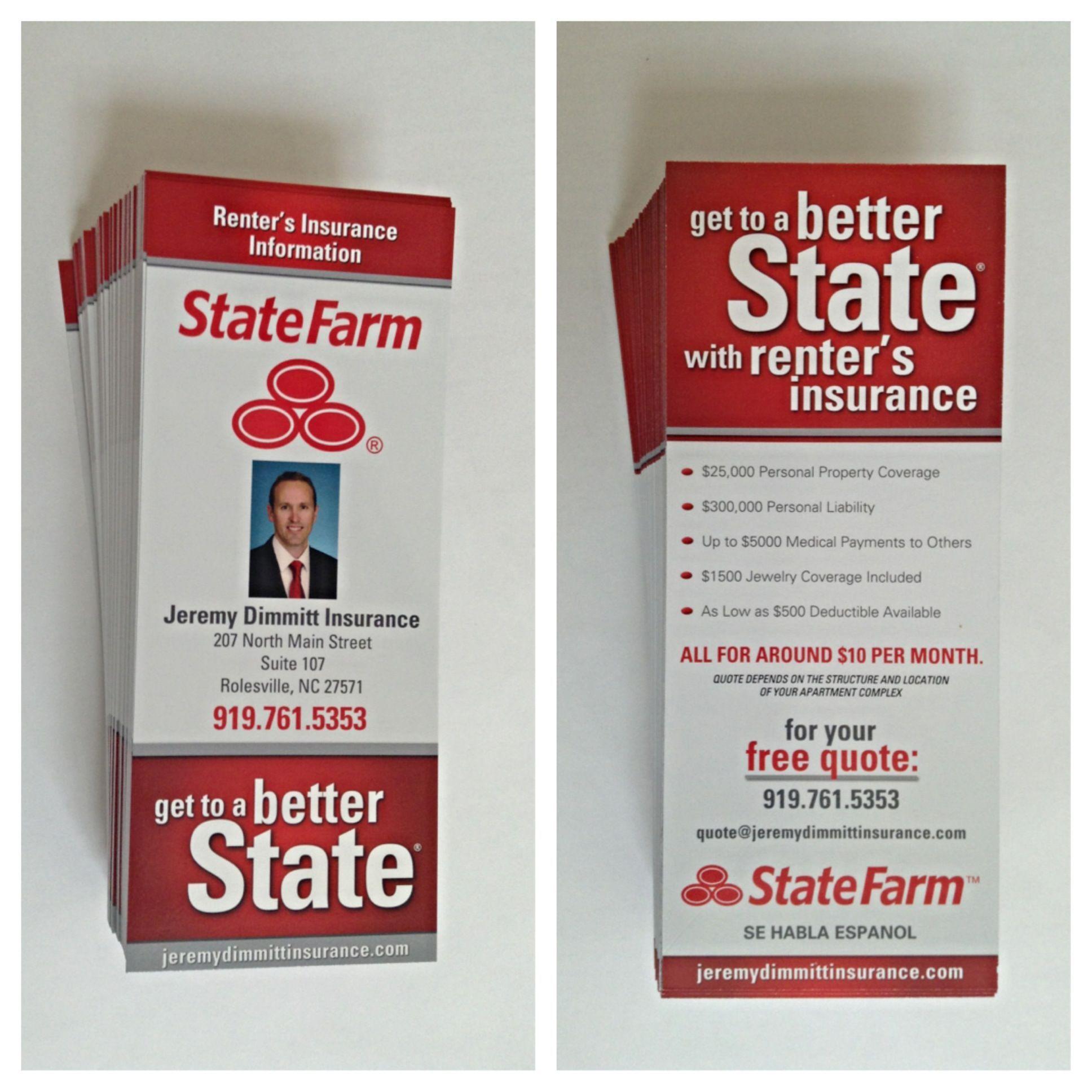 State Farm Renter's Insurance Rack Cards. Renters