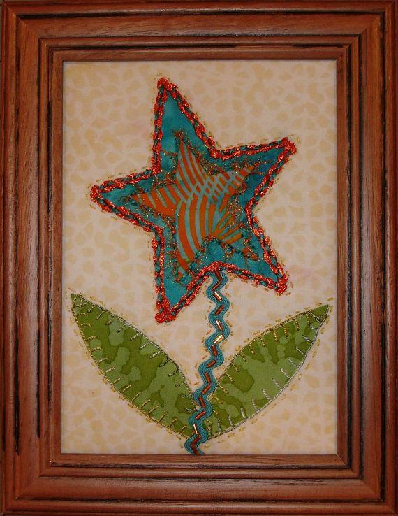 Quilted Framed Fibre Art, Starflower Textured Quilted Art ... : framed quilt art - Adamdwight.com