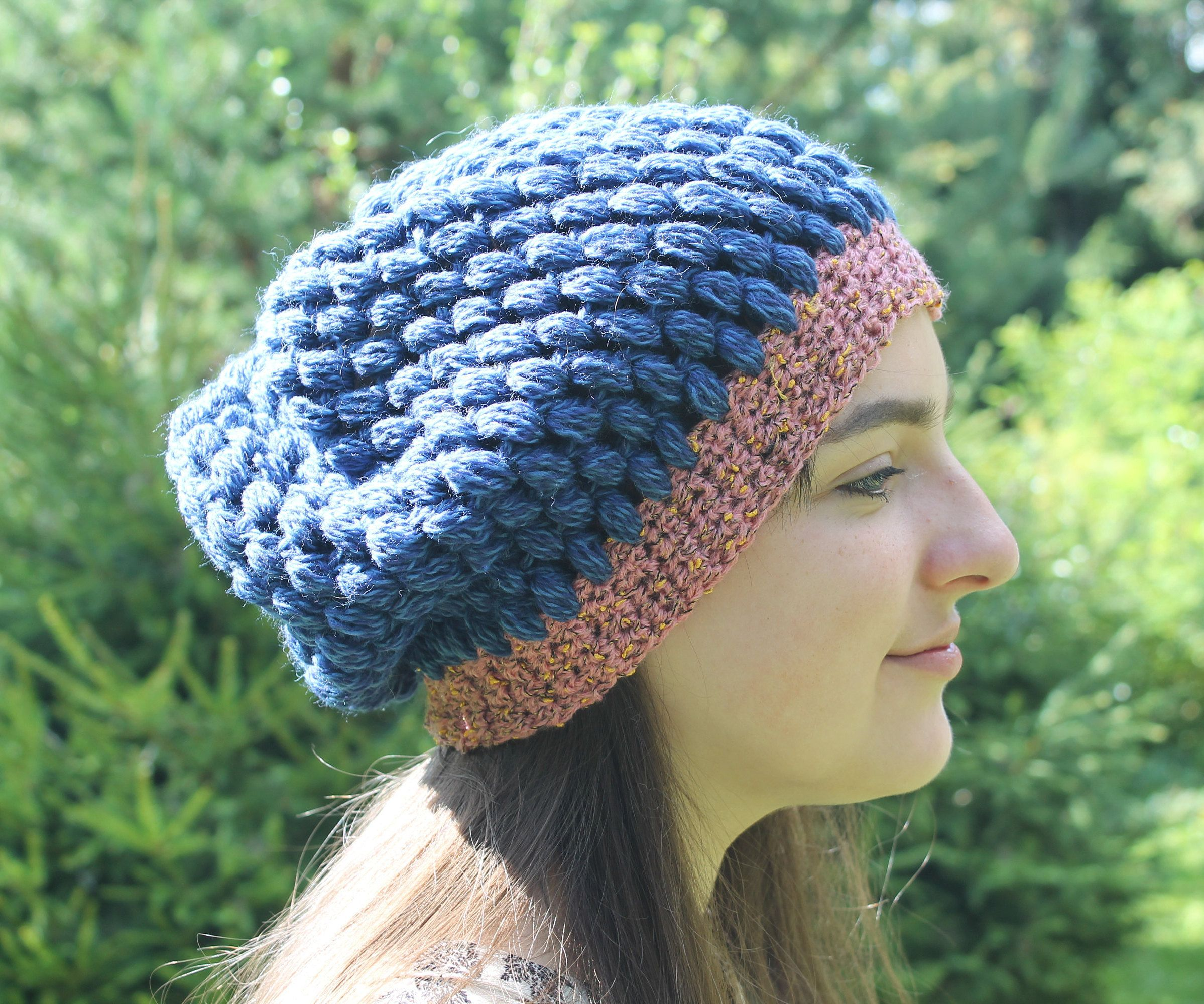 e71a49fd48e Hat crocheted beret blue slouch for women stylish oversized dusty pink  knitted made of merino wool