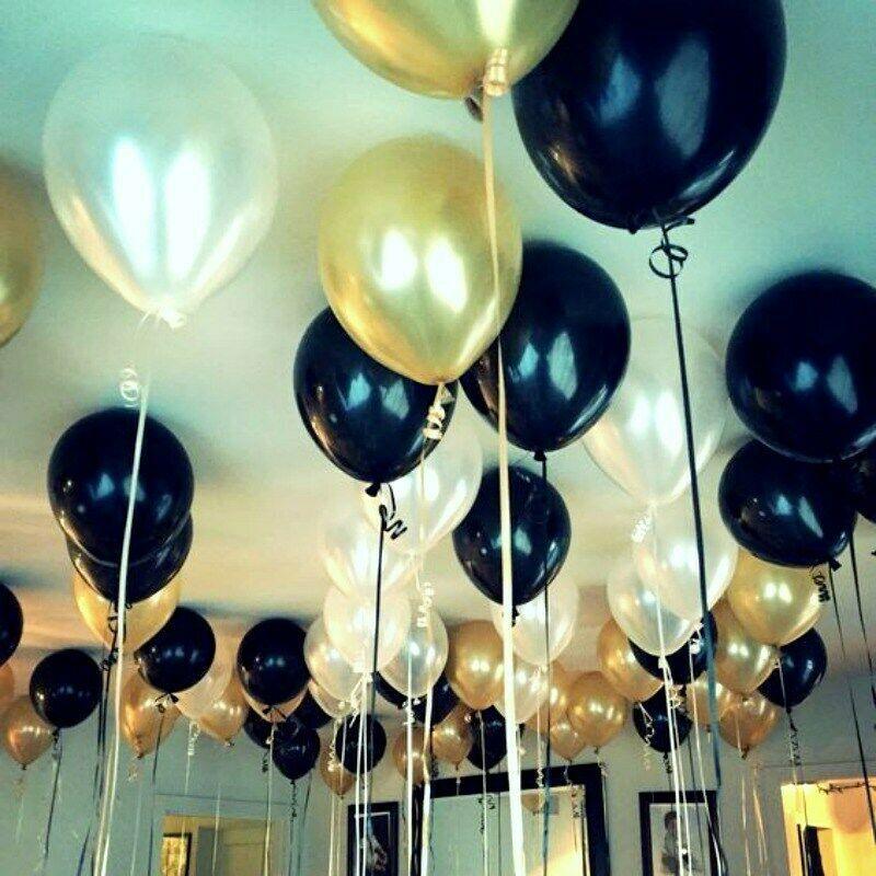Metallic Black White Gold Balloon Set 30pce Helium Quality