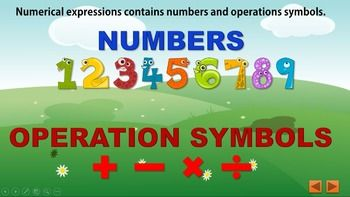 This colorful animated PowerPoint presentation includes:1. What are numerical expressions.2. Write numbers and operations in math language.3. Find the START number, OPERATION symbol or CHANGE number of an expression.4. Is a numerical expression? If not why.5.