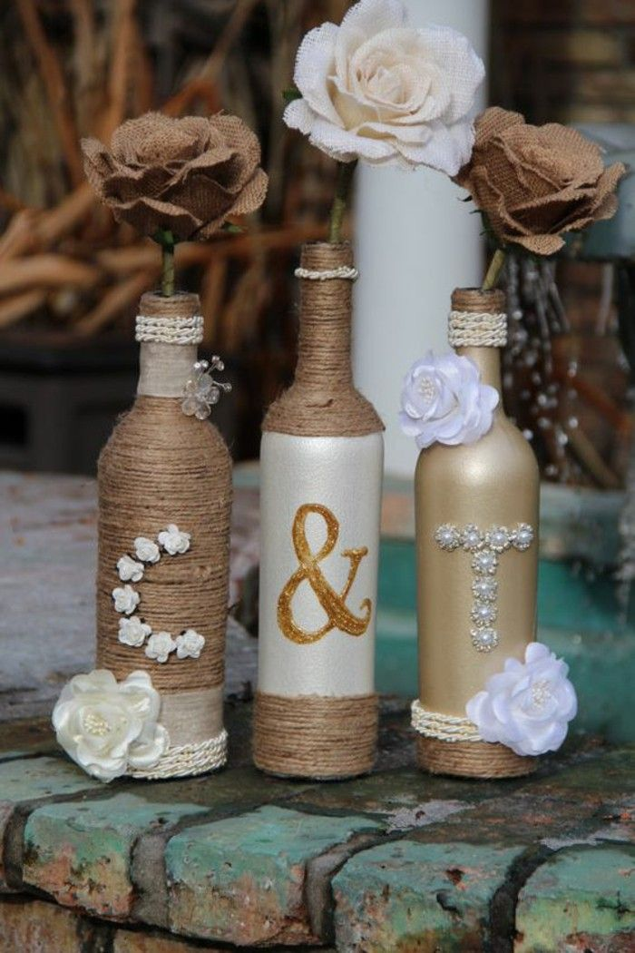 Wedding Ideas Recycling Dekoideen Wedding Decoration Glass Bottles Jute Jpg  700 1050 Wedding Decorations Pinterest Recycled Wedding Wedding Ideas  Recycling ...