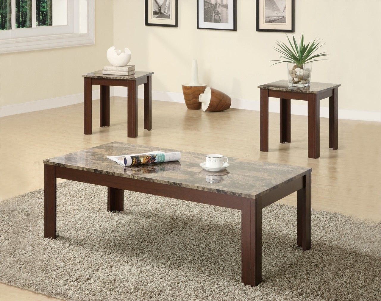 dark brown coffee table and end tables