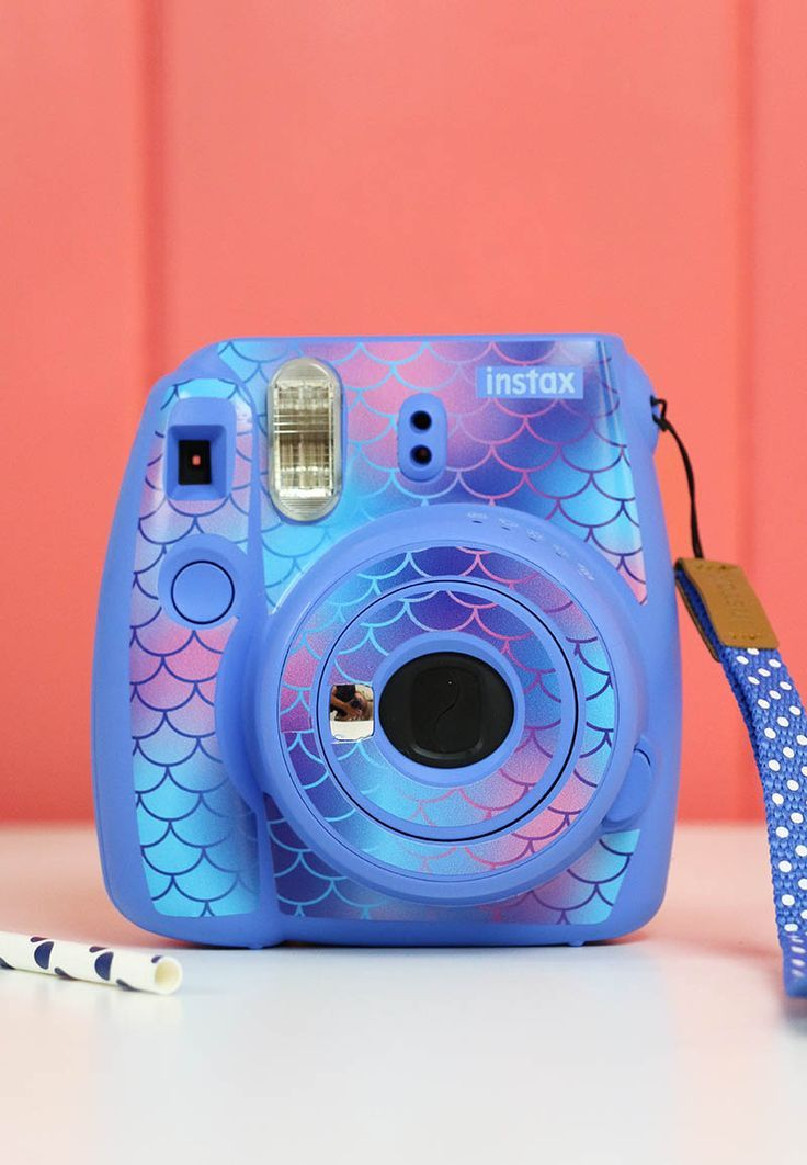 So cute! Make your own mermaid scale patterned instax camera skin - creative ideas for using patterned vinyl  #persialou #vinylcrafts #instax