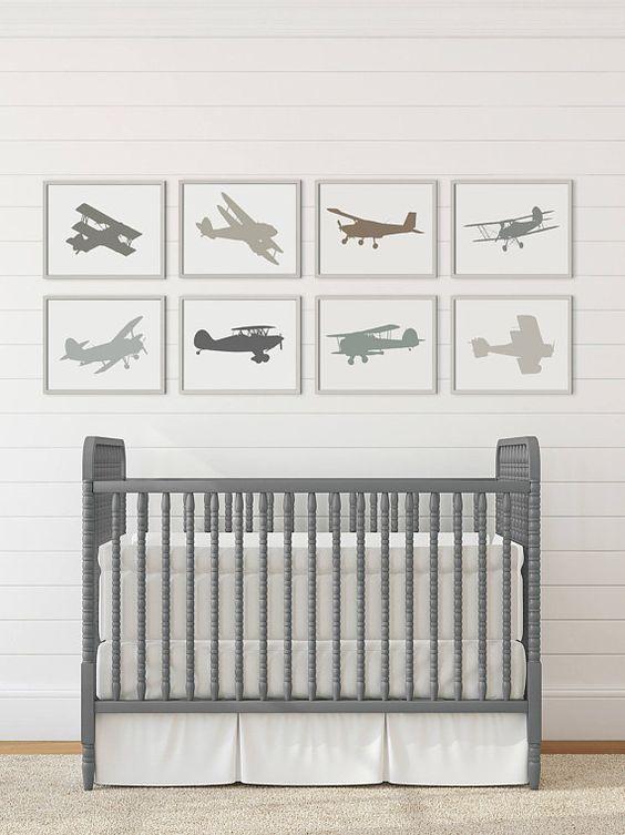 Vintage Airplane Decor Nursery Boy Room