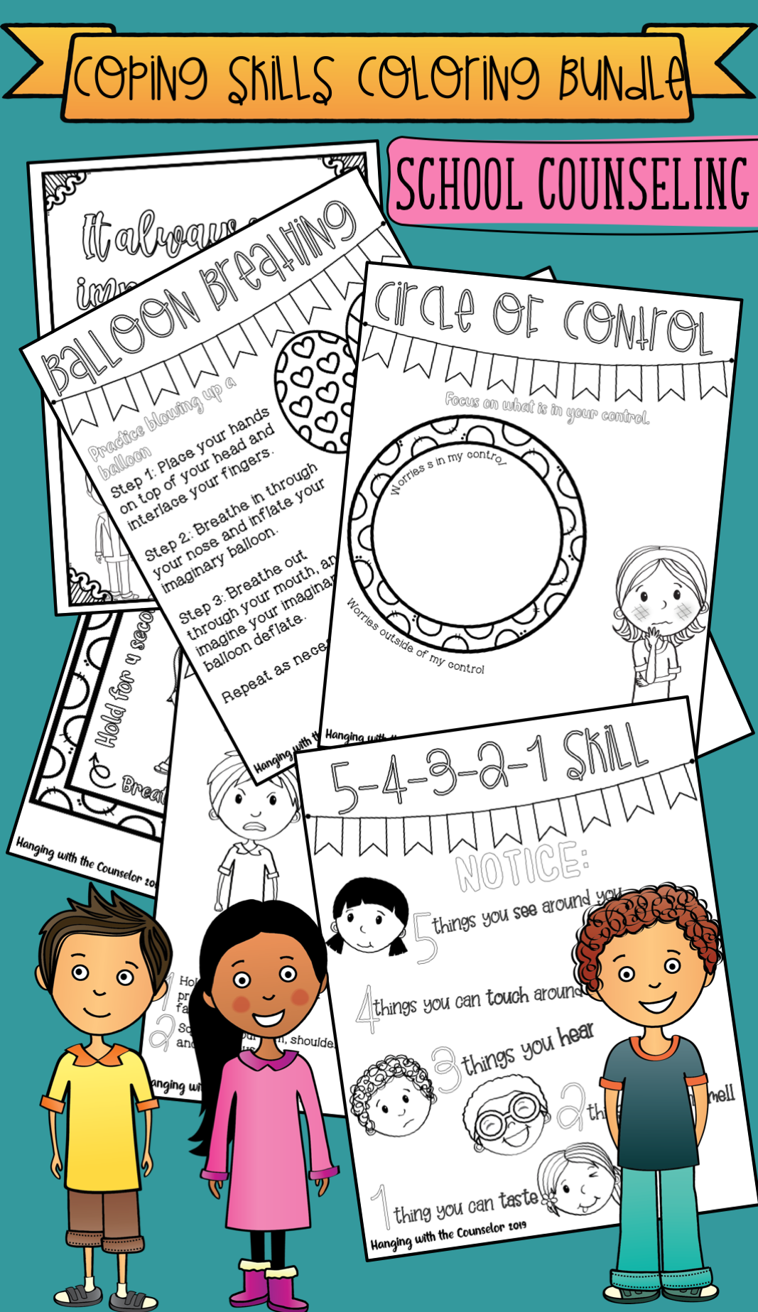 School Counseling Coloring Pages Bundle Always Growing