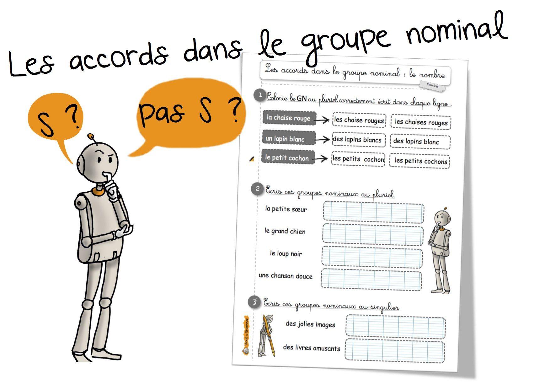 Grammaire : les accords dans le groupe nominal - Bout de gomme   Groupe nominal, Grammaire ...