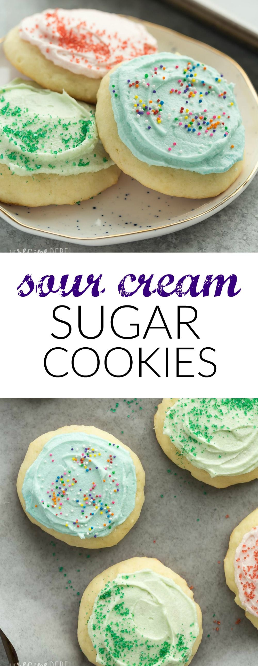 These Sour Cream Sugar Cookies Are Soft And Fluffy With Just The Right Amount Of Sweetness They Sugar Cookies Recipe Sour Cream Sugar Cookies Holiday Baking