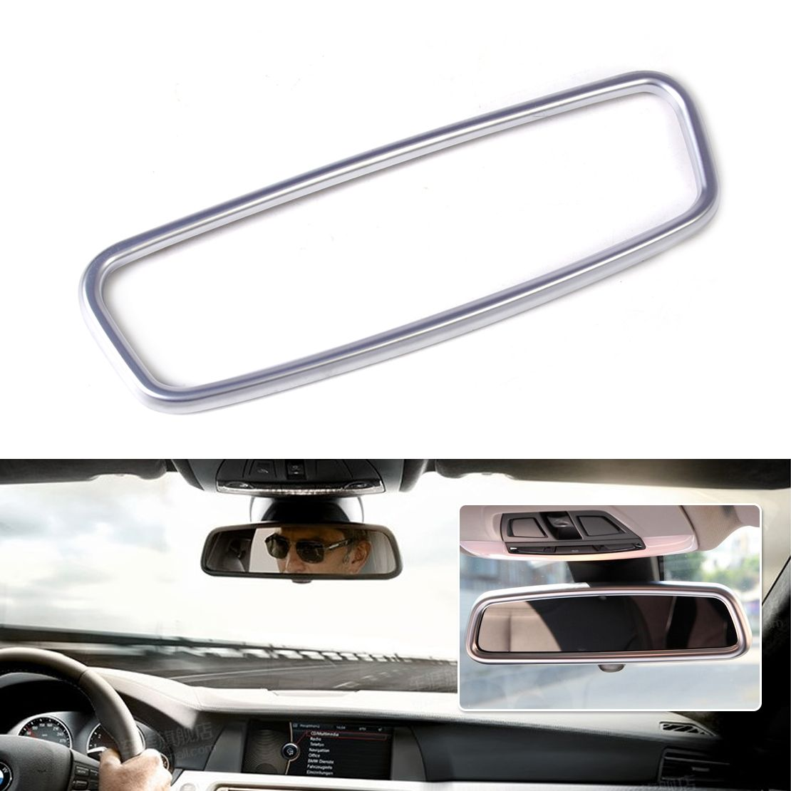 1pc New Abs Chrome Plated Interior Rearview Mirror Frame Trim For