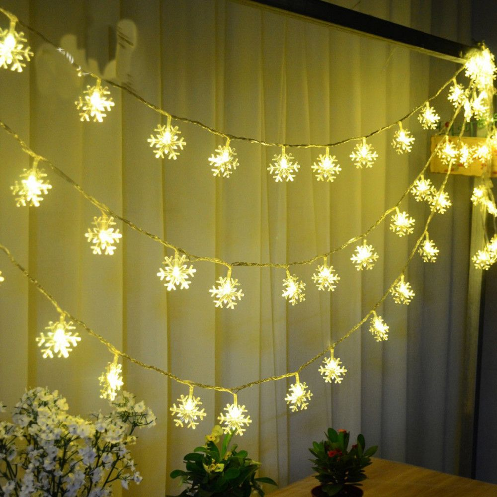 20 LED Snowflake Lamp Battery Operated 2.5 M Holiday Lighting ...