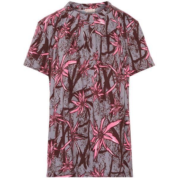Marni Pleated printed cotton-jersey blouse (7.481.100 VND) ❤ liked on