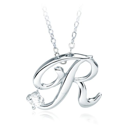 Letter R Name Initial Necklace with Cubic Zirconia A Special - celebration letter