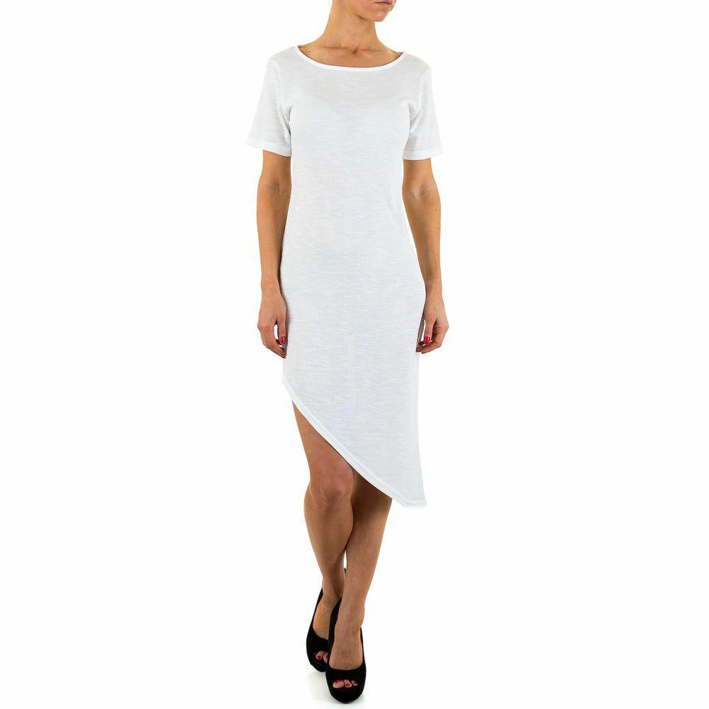 details zu asymmetrisches stretch damen kleid m weiß 5801