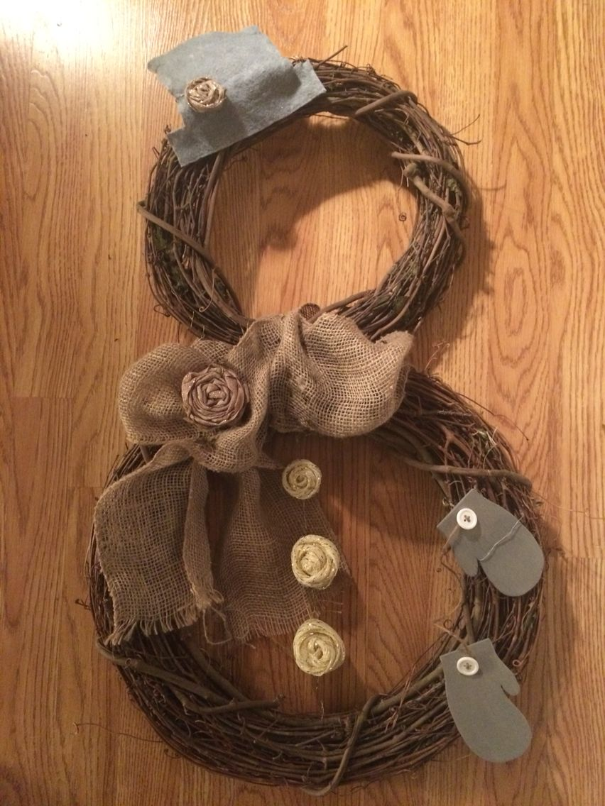DIY Snowman wreath. Winter decor. ⛄️ Medium and large