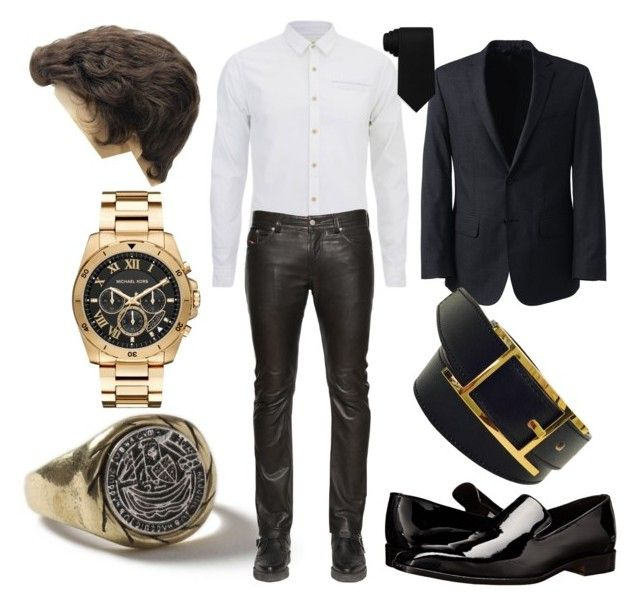 """""""Date night for Him"""" by aylaannette on Polyvore featuring Topman, Scotch & Soda, Diesel, Lands' End, Massimo Matteo, Tommy Hilfiger, Hermès, Michael Kors, men's fashion and menswear"""